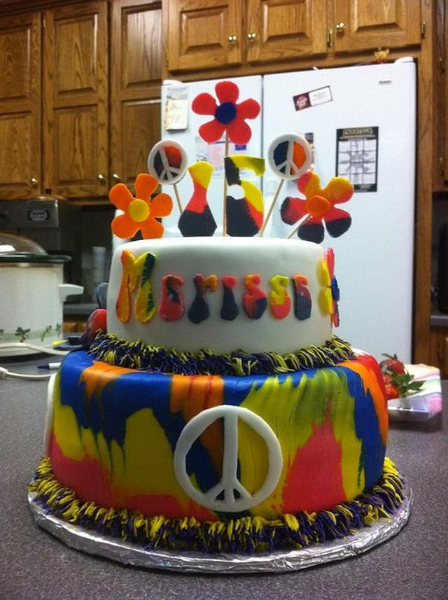 Excellent Tye Dyed Peace Sign Cake Cake By Melissa Cook Cakesdecor Personalised Birthday Cards Epsylily Jamesorg