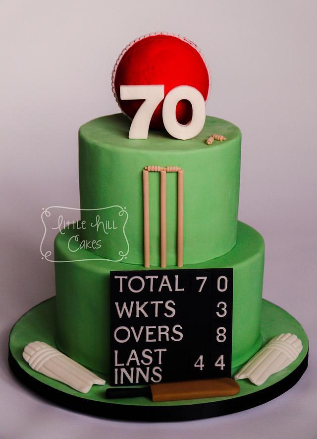 Cricket Themed 70th Birthday Cake