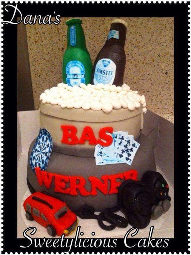 Beer car playstation darts cards cake