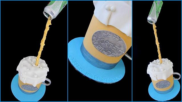 Floating beer can with beer mug cake!
