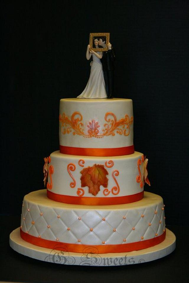 Autumn/Fall/Maple Wedding Cake