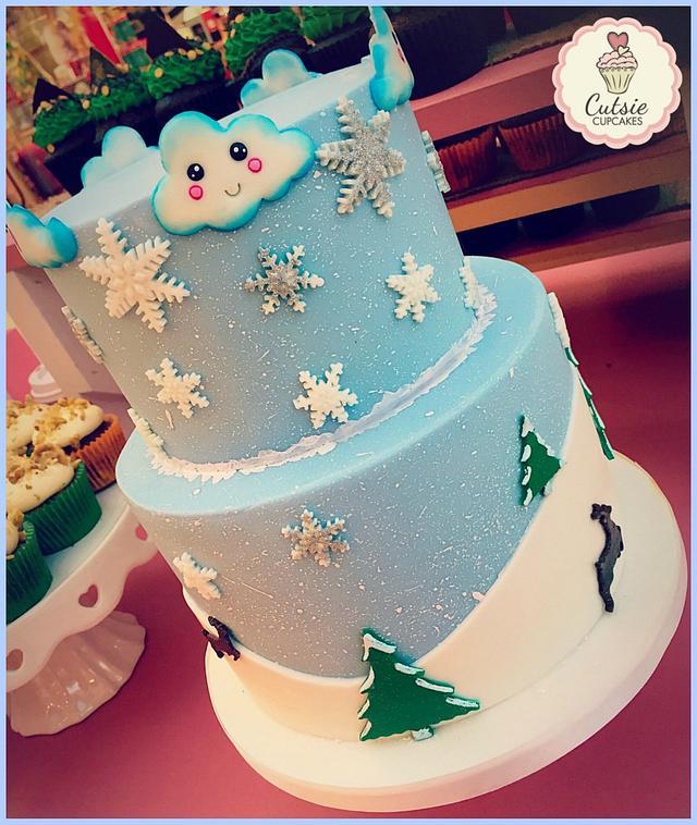 Kawaii Snow scene Cake ❄️