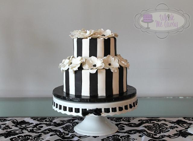 Flower and Striped birthday cake