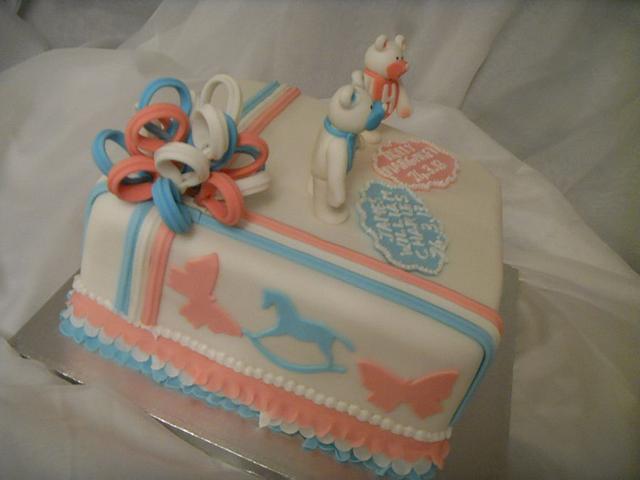 Teddies, Ribbons & Frills Christening Cake