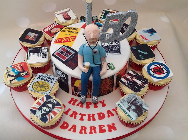 Brilliant Retro Music Birthday Cake For A 50 Year Old Rocker Cakesdecor Personalised Birthday Cards Veneteletsinfo