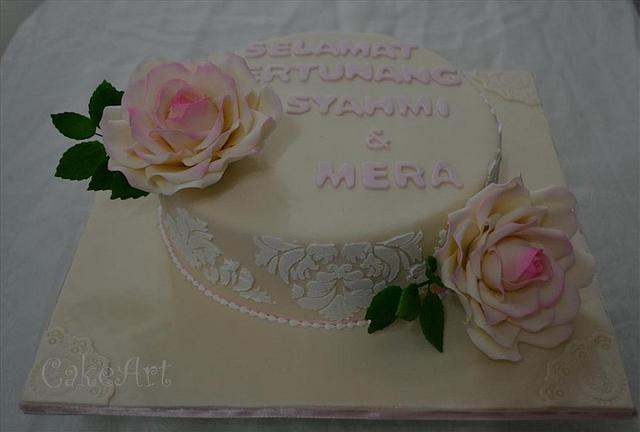 Pink and Peach Stencil Cake