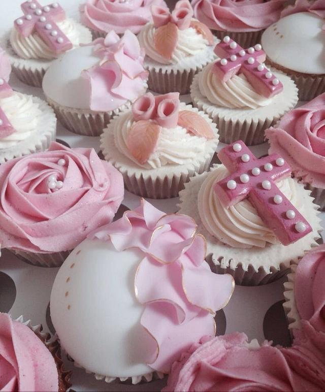 Ruffles and cross cupcakes
