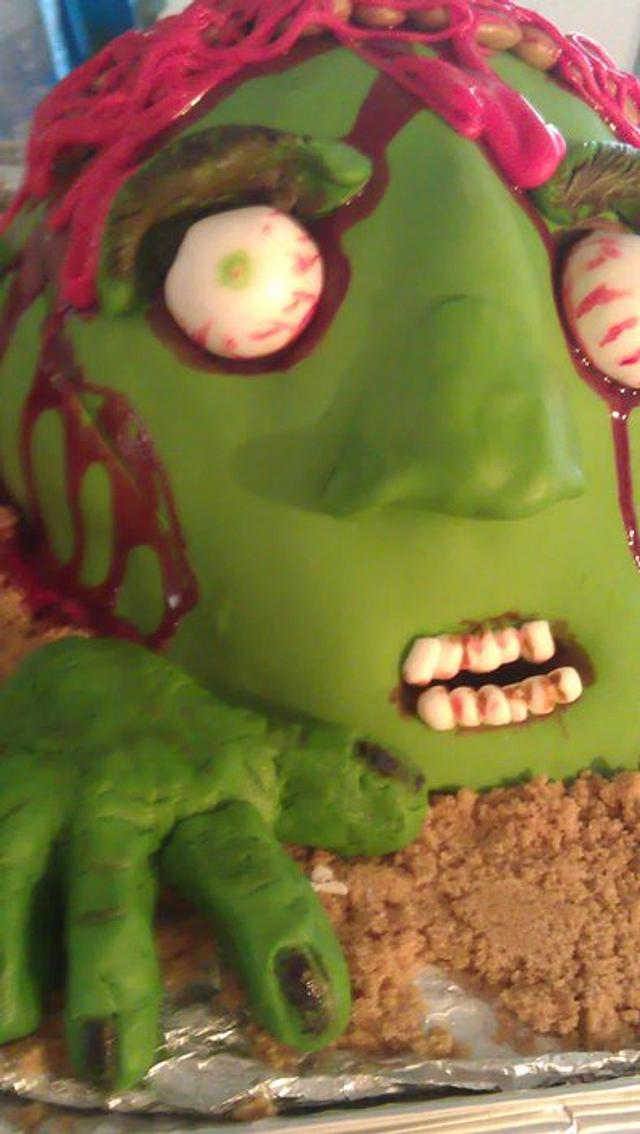 sticky dough cake zombie head