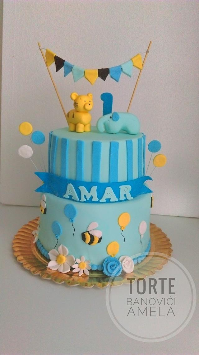 Terrific First Birthday Boy Cake Cake By Torte Amela Cakesdecor Funny Birthday Cards Online Alyptdamsfinfo