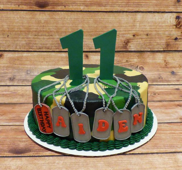 Sensational Camo Birthday Cake Cake By Michelle Cakesdecor Funny Birthday Cards Online Overcheapnameinfo
