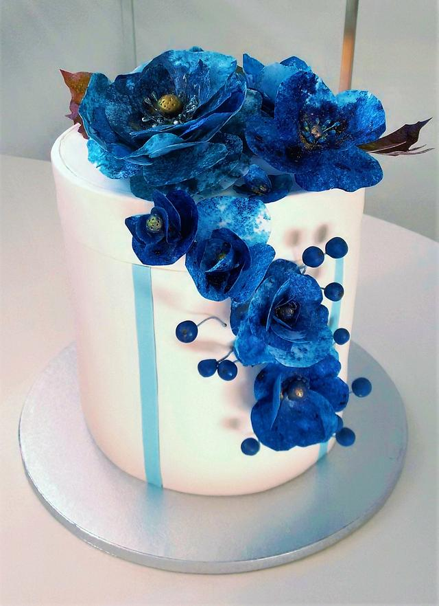 Blue box cake with wafer paper flowers