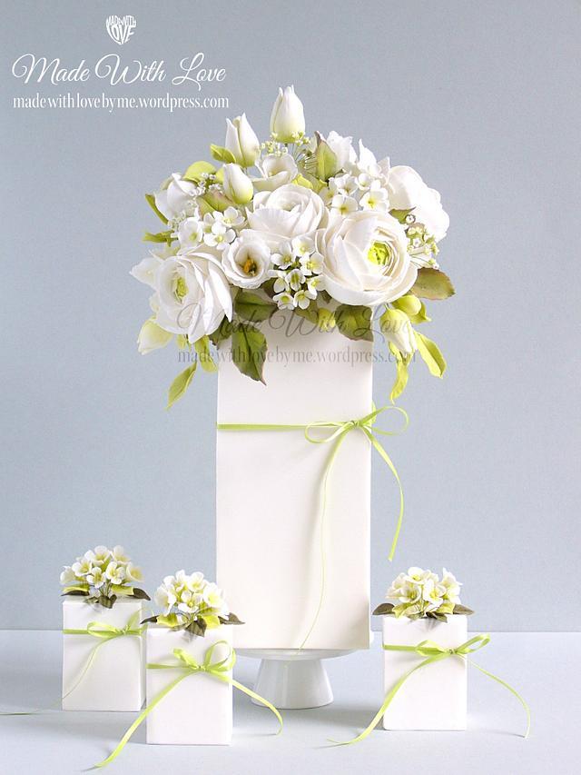 White Bouquet Cake