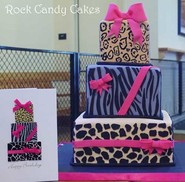 Animal Print Present Cake