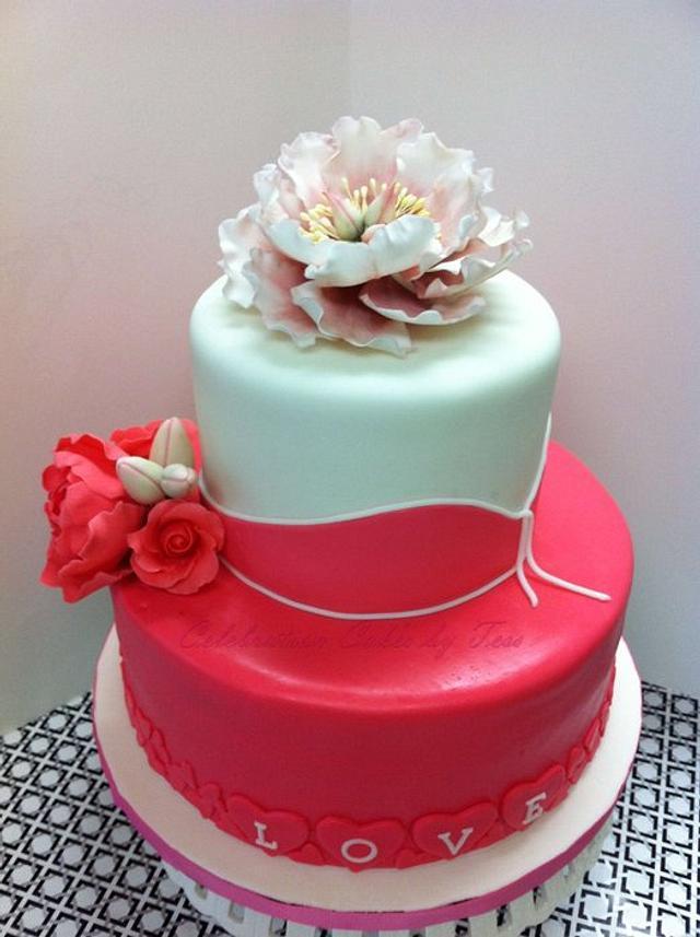 Valentine's Day Bridal Shower Cake