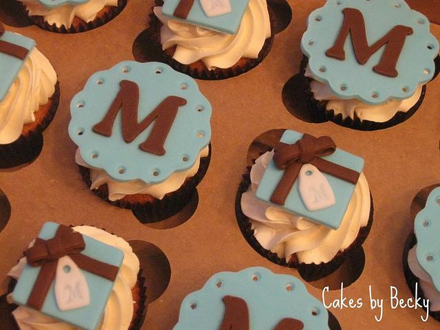 Monogrammed Anniversary Cupcakes
