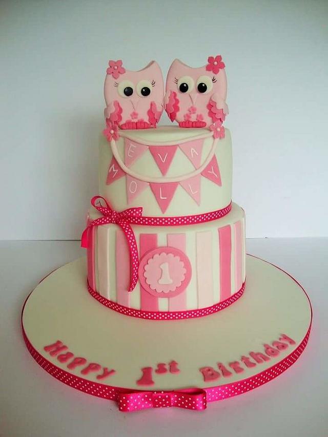 Wondrous Owl 1St Birthday Cake Cake By Amy Cakesdecor Funny Birthday Cards Online Hetedamsfinfo