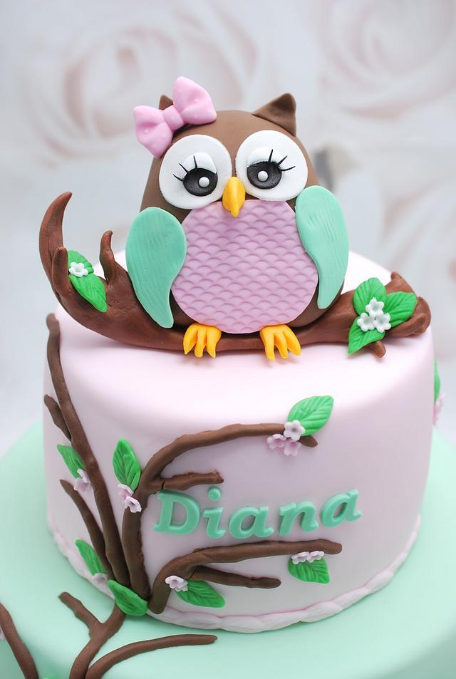 Marvelous Owl Birthday Cake Cake By Cofetaria Dana Cakesdecor Funny Birthday Cards Online Fluifree Goldxyz