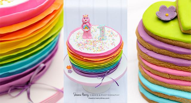 Rainbow ruffled care bear cake
