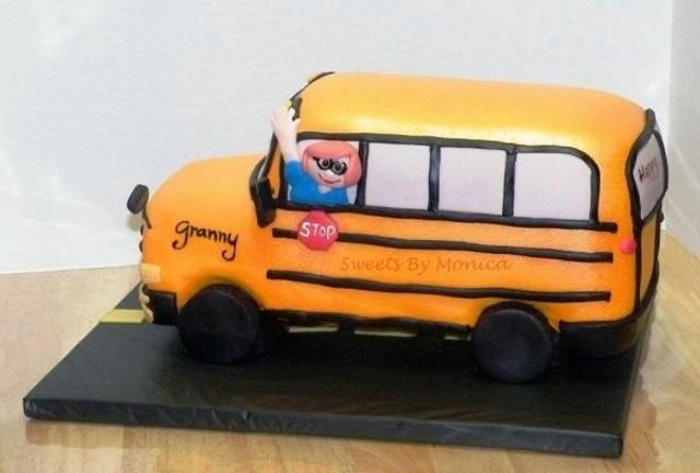 Magnificent All Aboard Grannys School Bus Birthday Cake Cake By Cakesdecor Personalised Birthday Cards Cominlily Jamesorg