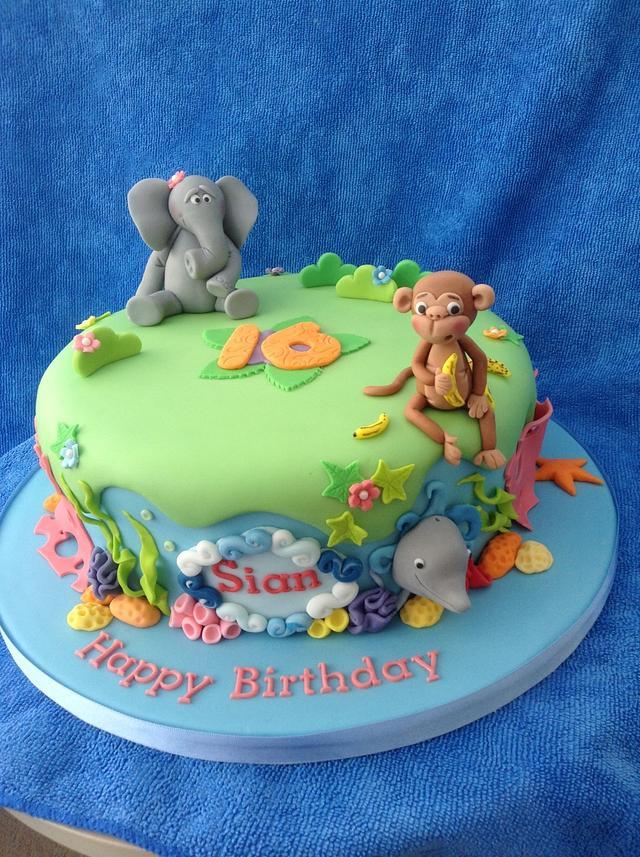 Jungle and sea cake