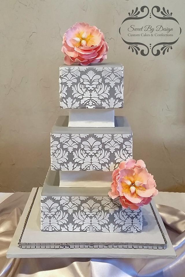 Gray Damask Wedding Cake
