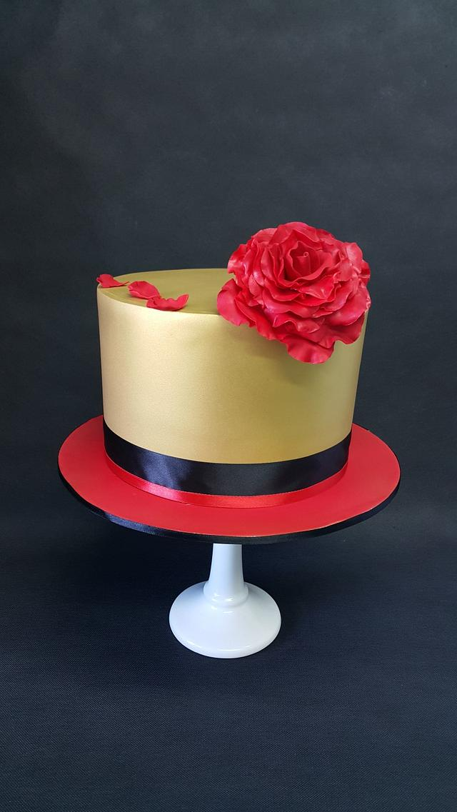 Solid Gold & Red Rose
