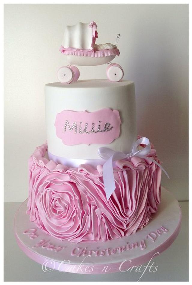 Pink and white Vera wang ruffle rose cake with Swarovski crystals