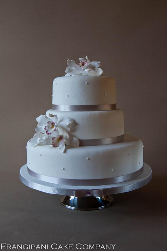 3 tier Orchid Wedding Cake