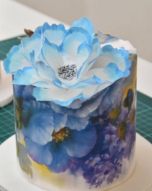 Torta Con Diseño En Papel De Arroz Flor En Papel De Cakesdecor