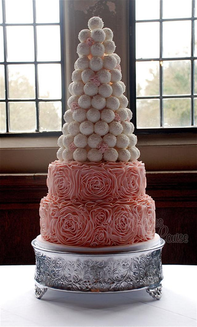 Ruffle cake with tower of cake balls