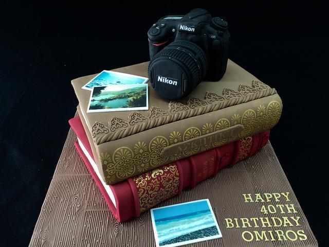 Camera and books cake