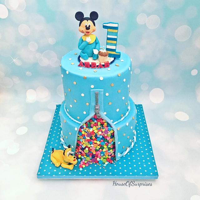 Surprising Baby Mickey First Birthday Cake Cake By Shikha Cakesdecor Funny Birthday Cards Online Alyptdamsfinfo
