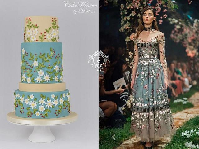 Brush embroidered cake - Couture Cakers Collaboration