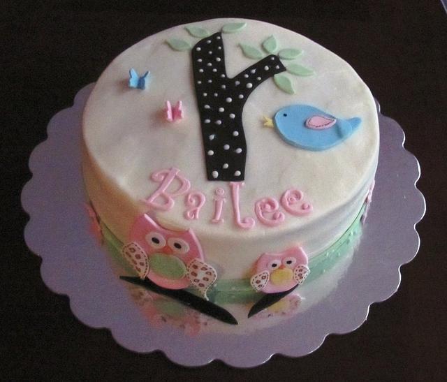 Woodland Owl Baby Shower Cake