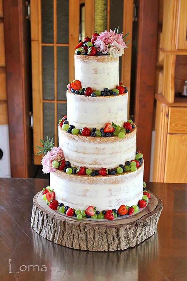 Naked flower wedding cake - Cake by TorteMFigure - CakesDecor