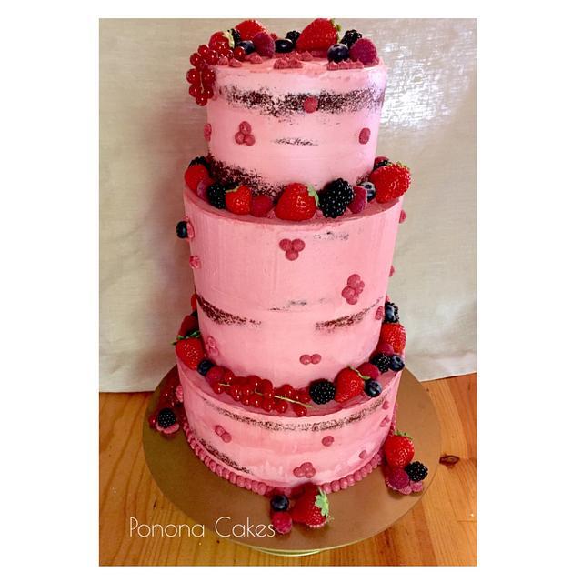 Pink lady - semi naked cake