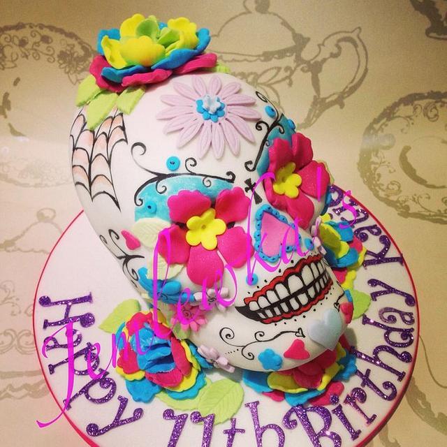 Remarkable Katies Sugar Skull Birthday Cake Cake By Jemlewkas Cakesdecor Funny Birthday Cards Online Eattedamsfinfo