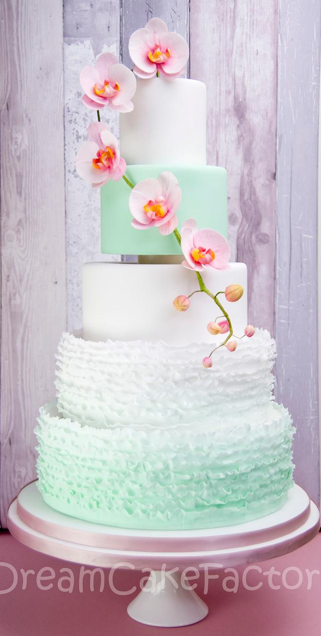 mint ruffles with orchids