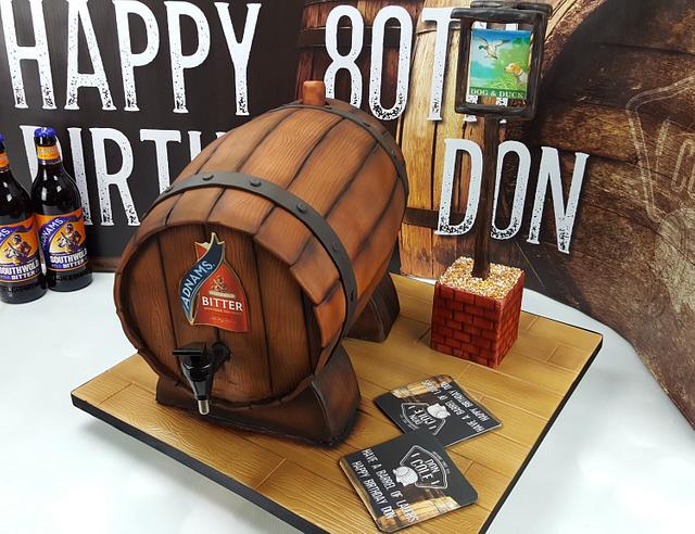 Working Beer Barrel and Pub Sign Cake