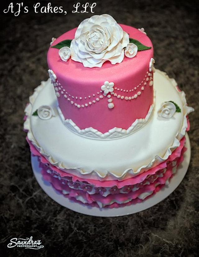 Pink and White Rose Cake