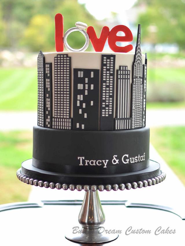 NYC Engagement Cake