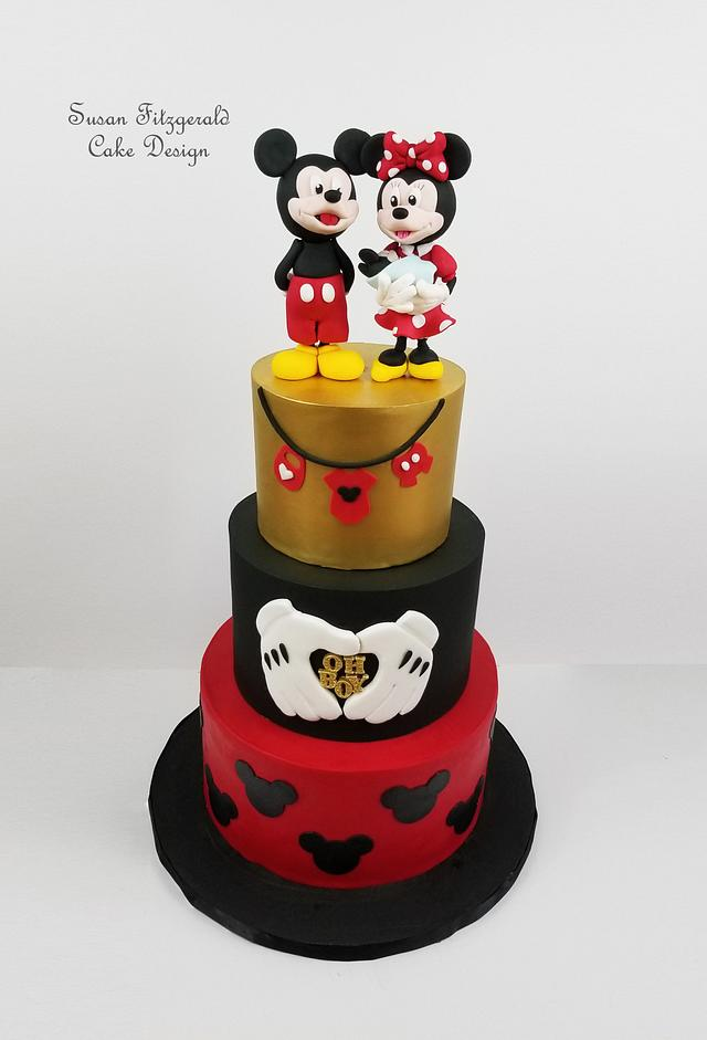 Mickey and Minnie Mouse Baby Shower Cake
