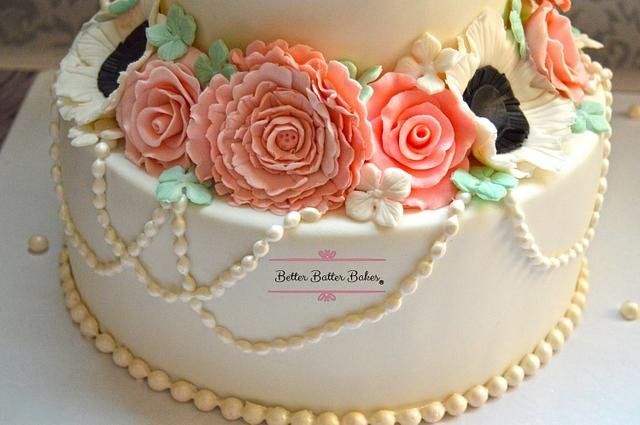 Simple Floral Engagement Cake