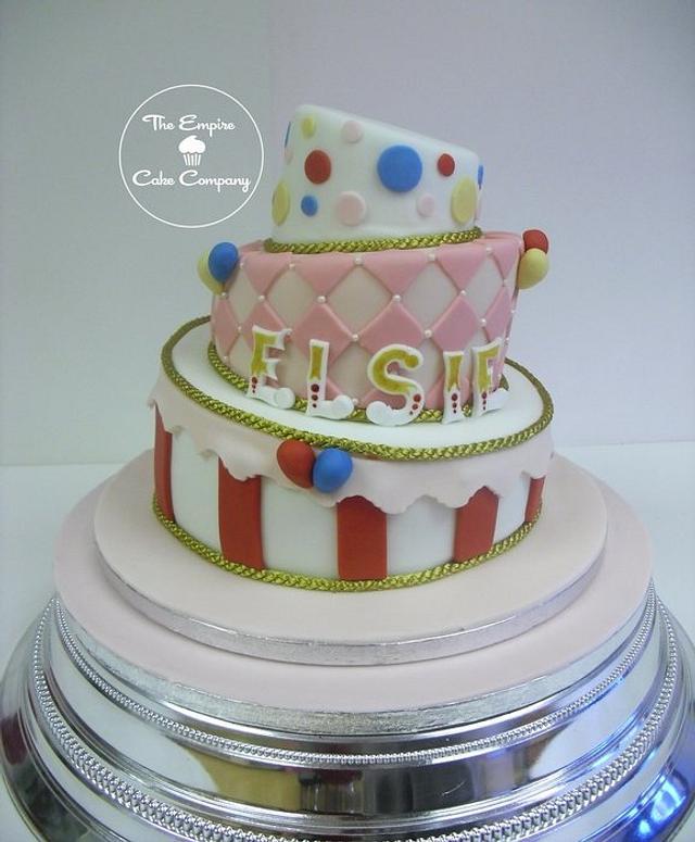 3 tier topsy turvy circus cake