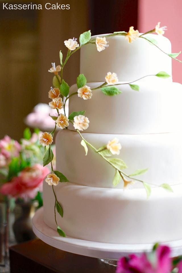 Peach blossom wedding cake
