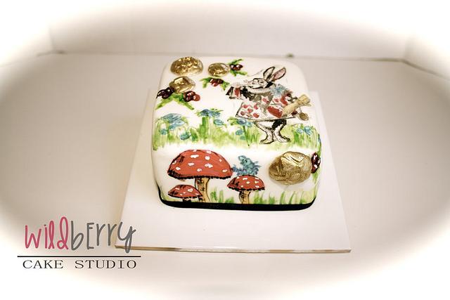 Painted Christmas Cake - White Rabbit