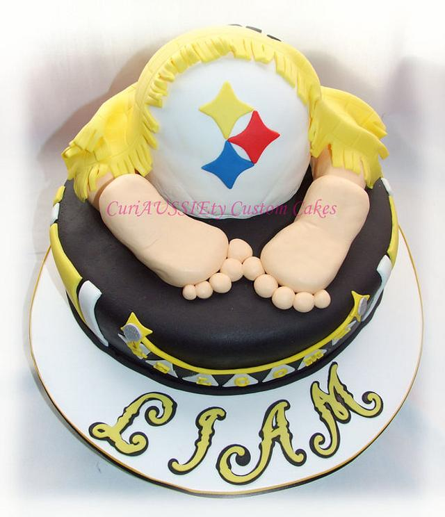 Pittsburgh Steelers baby bum baby shower cake