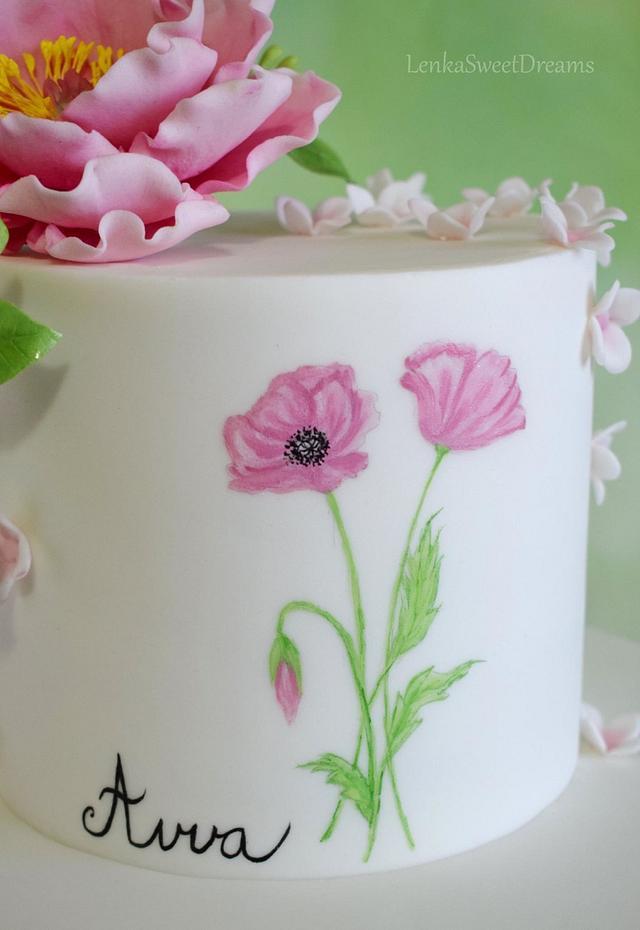 Birthday cake with sugar flowers.