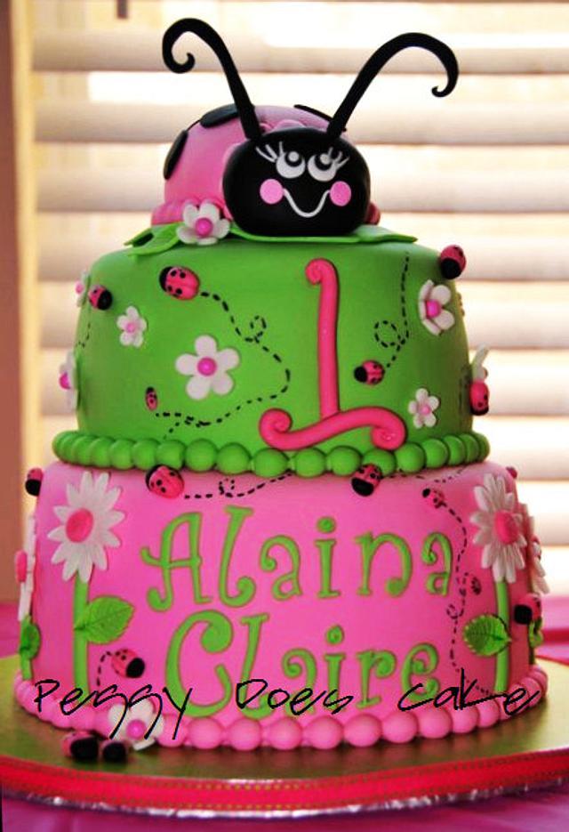 Pink and Green Ladybug Cake