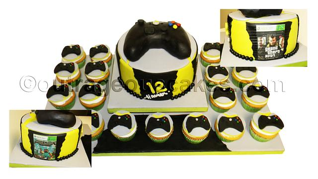 xbox themed cake and cupcakes